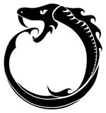Ouroboros  tattoo (snake eating its own tail)  on white Stock Photo