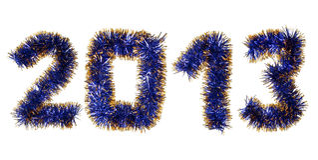 Ouropel azul do ouro que dá forma a um número de 2013 anos Fotos de Stock