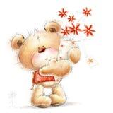 Ours avec des fleurs illustration stock