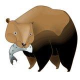 Ours avec des poissons illustration libre de droits