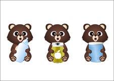 Ours avec l'aliment pour bébé Photo stock
