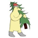 Ours avec l'arbre de Noël Image stock