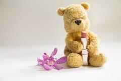 Ours avec le rouge à lèvres Image stock