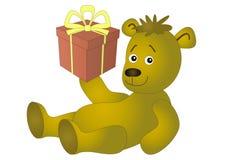 Ours avec un cadre de cadeau Images stock