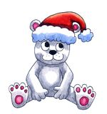 Ours blanc avec Santa Hat illustration stock