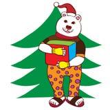 Ours blanc avec un cadeau de Noël illustration de vecteur