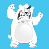Ours blanc blanc de bande dessinée fâchée et drôle faisant le gestur de attaque Images libres de droits