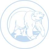 Ours blanc blanc, encadré en cercle Image libre de droits