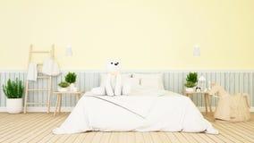 Ours blanc dans la chambre d'enfant ou le rendu de bedroom-3D illustration de vecteur