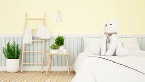 Ours blanc dans la chambre d'enfant ou le rendu de bedroom-3D illustration stock