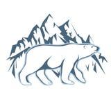 Ours blanc blanc dessiné sur un fond des montagnes de neige Photographie stock libre de droits