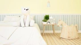 Ours blanc et cheval de basculage dans la chambre d'enfant ou le rendu de bedroom-3D illustration de vecteur