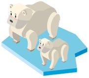 Ours blanc et petit animal sur la glace illustration libre de droits