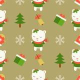 Ours blanc mignon, thème sans couture de modèle de Noël, pour l'usage comme wa illustration stock