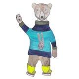 Ours blanc patinant dans un chandail tricoté de Terry Photographie stock libre de droits