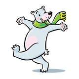 Ours blanc sautant heureux Images libres de droits