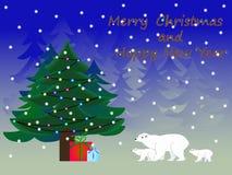 Ours blancs autour d'un arbre de Noël illustration libre de droits