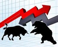 Ours contre le concept de marché boursier de taureaux Photo libre de droits
