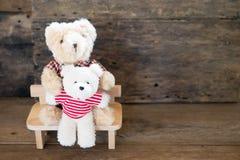 Ours d'amants et coeur rouge de chocolat Images libres de droits