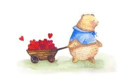 Ours d'aquarelle avec le camion plein des coeurs Photo libre de droits