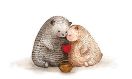 Ours d'aquarelle dans l'amour Photo stock