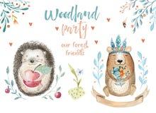 Ours de bébé et décor mignons, illustration de dessin de forêt, aquarelle, crèche animale de hérisson d'isolement pour des enfant Images stock