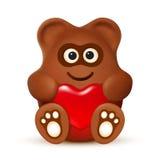 Ours de chocolat avec le coeur Image stock