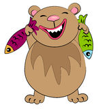 Ours de dessin animé avec des poissons. caractère animal Photographie stock libre de droits