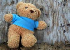 Ours de jouet avec du vieux bois Photographie stock libre de droits