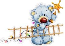 Ours de jouet de nouvelle année Fond de Noël Illustration d'aquarelle Photographie stock