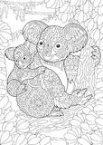 Ours de koala de Zentangle Images libres de droits