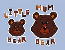 Ours de mère de bande dessinée et petit ours Chemise de bellâtre d'autocollant ou d'impression Animaux mignons et lettrage funy I illustration stock