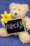 Ours de nounours avec la fleur et le signe 8 mars concept Image libre de droits