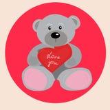 Ours de nounours avec le coeur illustration stock