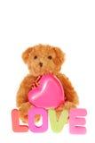 Ours de nounours avec le coeur rose Image stock