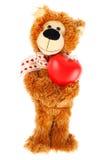 Ours de nounours avec le coeur rouge Photographie stock