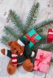 Ours de nounours avec les cadeaux colorés pour Noël et les branches impeccables Image stock