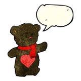 ours de nounours blanc de bande dessinée avec le coeur d'amour avec la bulle de la parole Images libres de droits