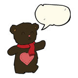 ours de nounours blanc de bande dessinée avec le coeur d'amour avec la bulle de la parole Images stock