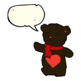 ours de nounours blanc de bande dessinée avec le coeur d'amour avec la bulle de la parole Image libre de droits