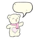 ours de nounours blanc de bande dessinée avec le coeur d'amour avec la bulle de la parole Photos stock