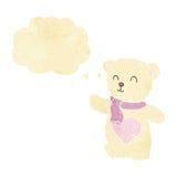 ours de nounours blanc de bande dessinée avec le coeur d'amour avec la bulle de pensée Image stock