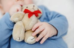 Ours de nounours dans la main de bébé Photos libres de droits
