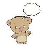ours de nounours de bande dessinée ondulant avec la bulle de pensée Photo libre de droits