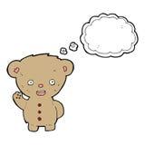 ours de nounours de bande dessinée ondulant avec la bulle de pensée Photographie stock