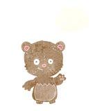 ours de nounours de bande dessinée ondulant avec la bulle de pensée Photo stock