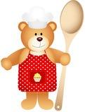 Ours de nounours de cuisinier avec la cuillère en bois illustration libre de droits