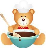 Ours de nounours de cuisinier avec le bol de chocolat illustration stock
