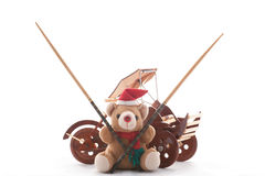 Ours de nounours de Noël, pousse-pousse, et chpsticks Image stock