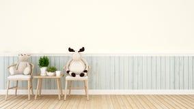 Ours de nounours et renne sur la chaise dans le salon ou le café - intérieur pour l'oeuvre d'art - rendu 3D illustration de vecteur